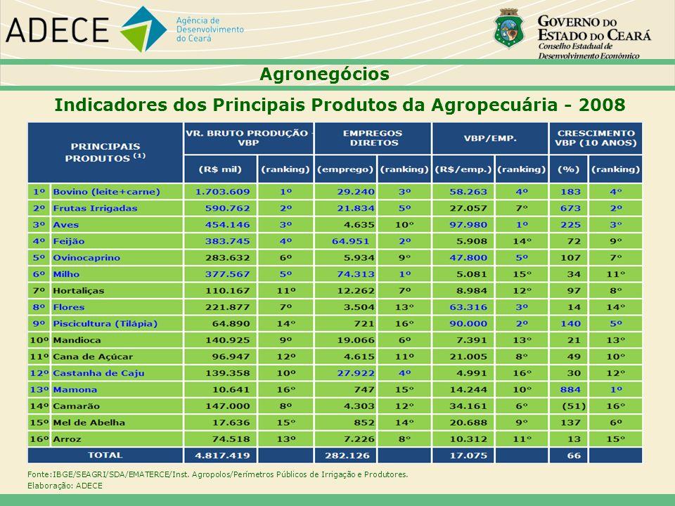 Indicadores dos Principais Produtos da Agropecuária - 2008