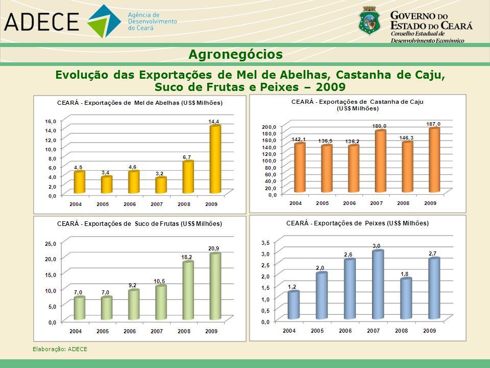 Agronegócios Evolução das Exportações de Mel de Abelhas, Castanha de Caju, Suco de Frutas e Peixes – 2009.