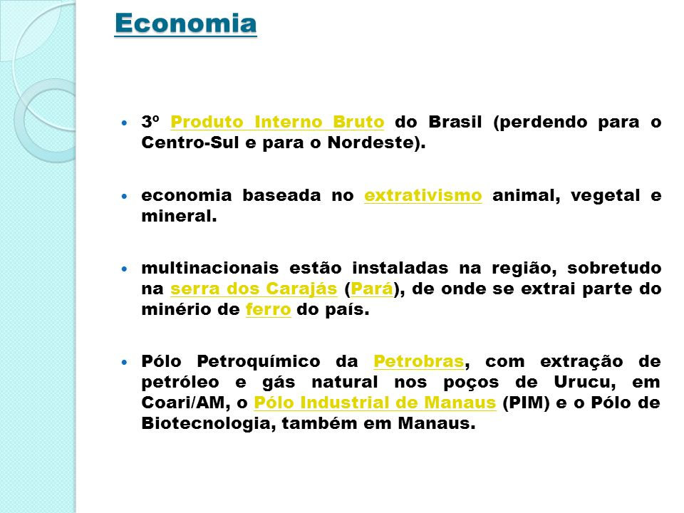 Economia 3º Produto Interno Bruto do Brasil (perdendo para o Centro-Sul e para o Nordeste).