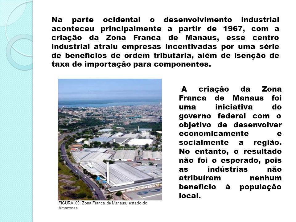 Na parte ocidental o desenvolvimento industrial aconteceu principalmente a partir de 1967, com a criação da Zona Franca de Manaus, esse centro industrial atraiu empresas incentivadas por uma série de benefícios de ordem tributária, além de isenção de taxa de importação para componentes.