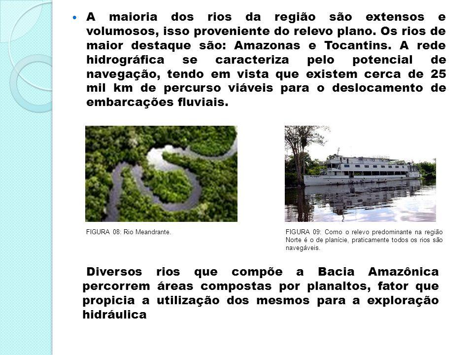 A maioria dos rios da região são extensos e volumosos, isso proveniente do relevo plano. Os rios de maior destaque são: Amazonas e Tocantins. A rede hidrográfica se caracteriza pelo potencial de navegação, tendo em vista que existem cerca de 25 mil km de percurso viáveis para o deslocamento de embarcações fluviais.
