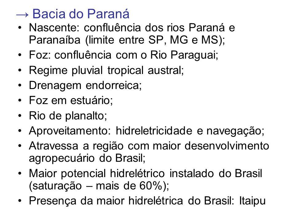 → Bacia do Paraná Nascente: confluência dos rios Paraná e Paranaíba (limite entre SP, MG e MS); Foz: confluência com o Rio Paraguai;