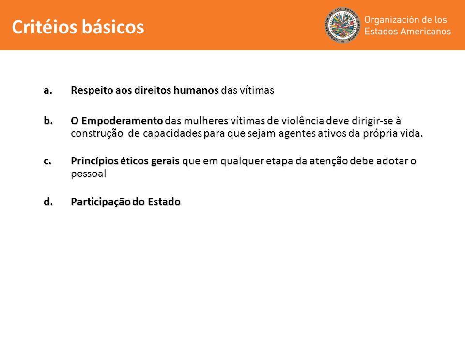 Critéios básicos Respeito aos direitos humanos das vítimas