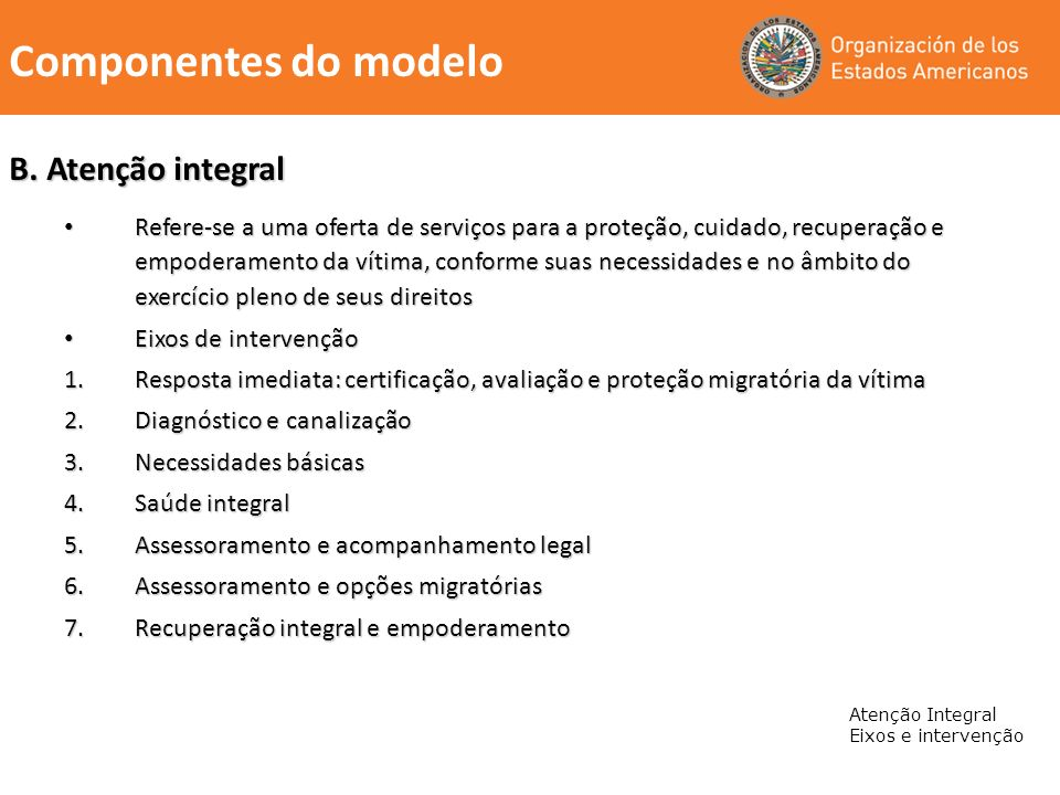 Componentes do modelo B. Atenção integral