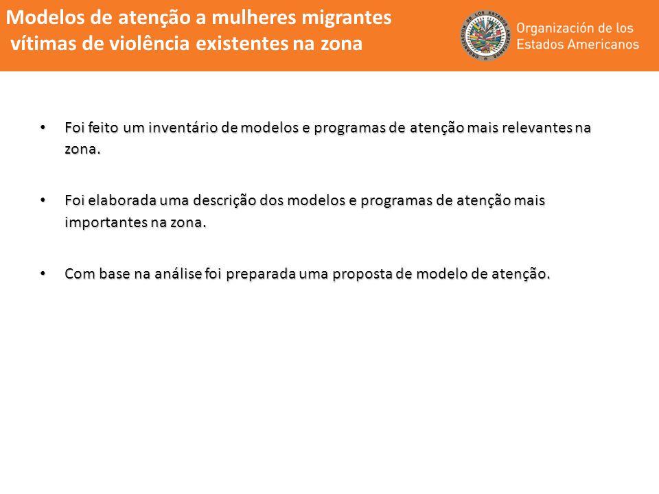 Modelos de atenção a mulheres migrantes vítimas de violência existentes na zona