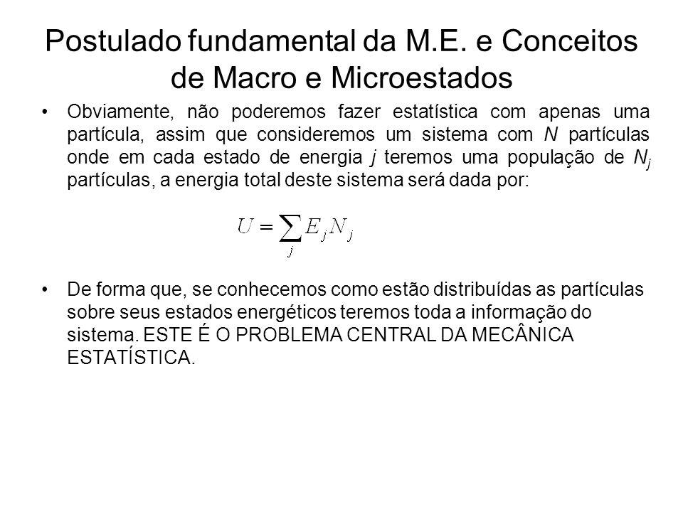 Postulado fundamental da M.E. e Conceitos de Macro e Microestados