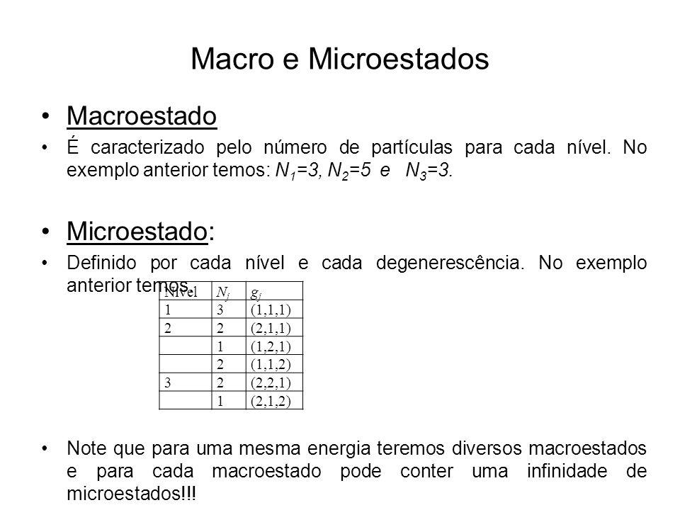 Macro e Microestados Macroestado Microestado:
