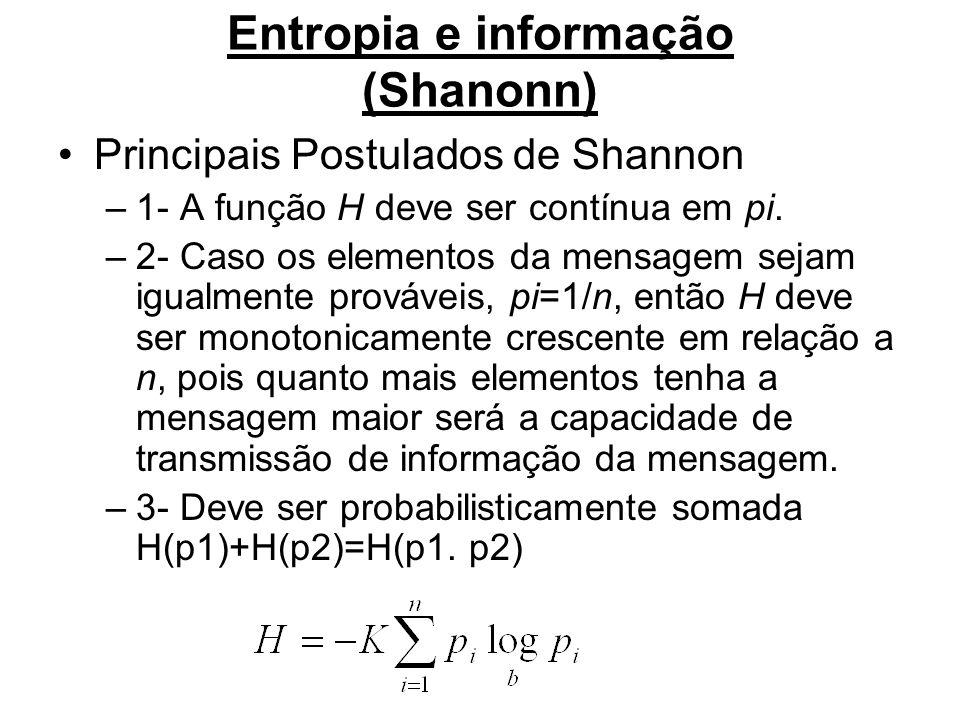 Entropia e informação (Shanonn)