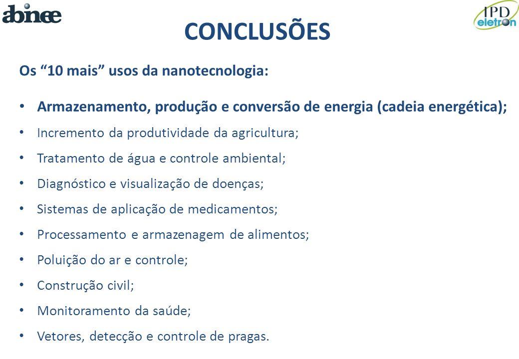 CONCLUSÕES Os 10 mais usos da nanotecnologia:
