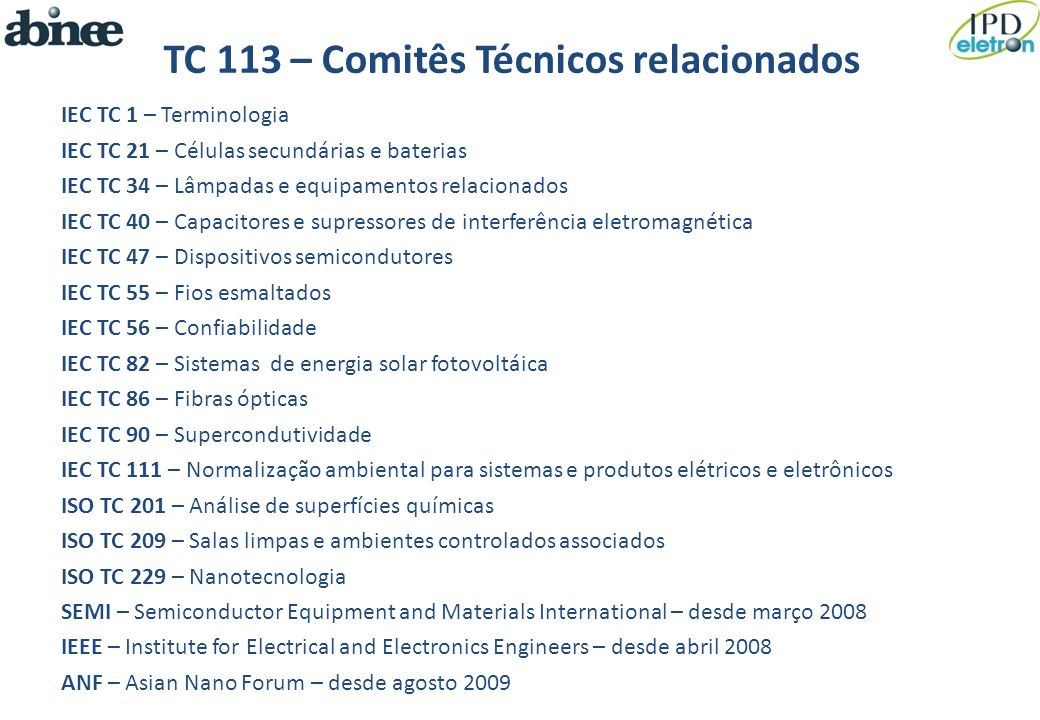 TC 113 – Comitês Técnicos relacionados