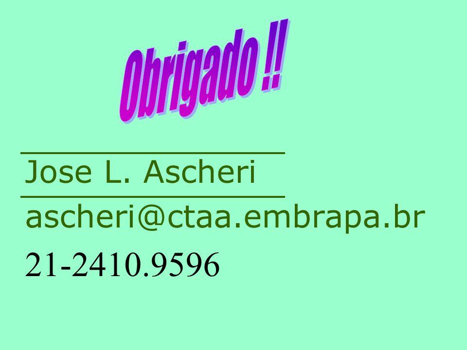 Obrigado !! Jose L. Ascheri ascheri@ctaa.embrapa.br 21-2410.9596