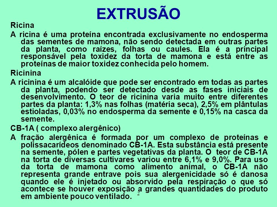 EXTRUSÃO Ricina.