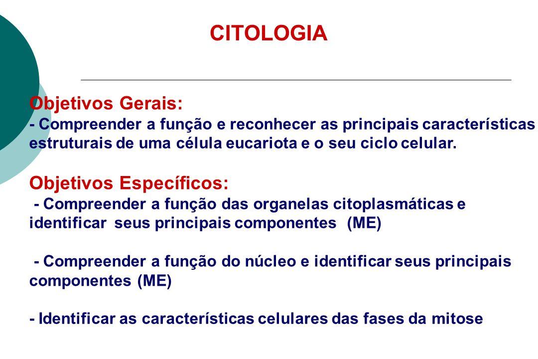 CITOLOGIA Objetivos Gerais: Objetivos Específicos: