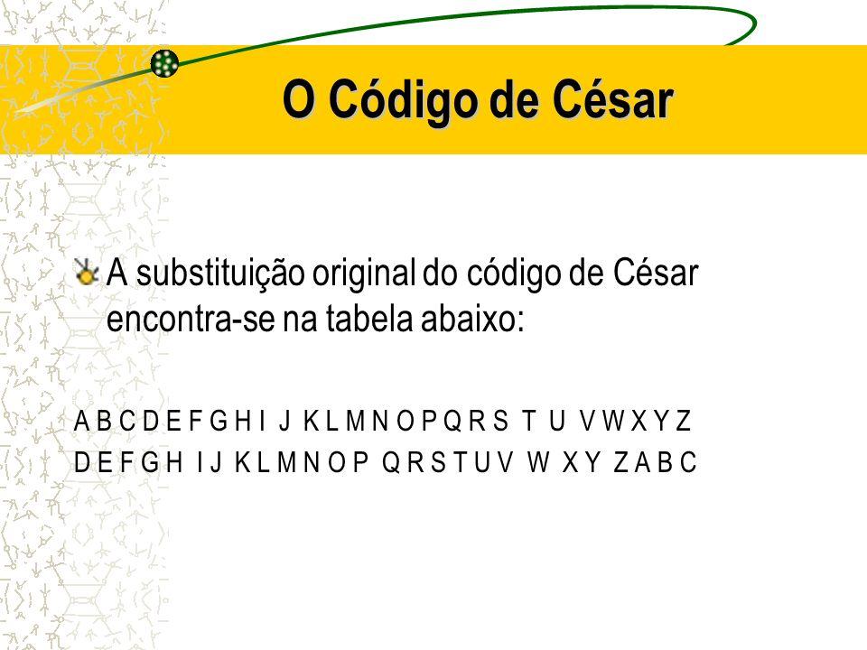 O Código de César A substituição original do código de César encontra-se na tabela abaixo: A B C D E F G H I J K L M N O P Q R S T U V W X Y Z.