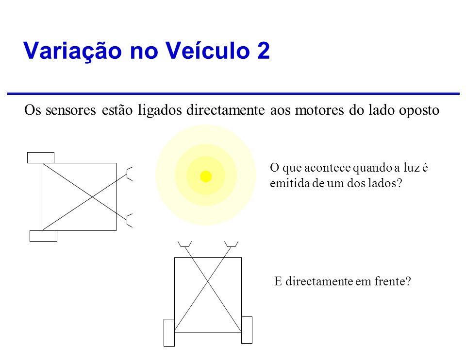 Variação no Veículo 2 Os sensores estão ligados directamente aos motores do lado oposto. O que acontece quando a luz é emitida de um dos lados