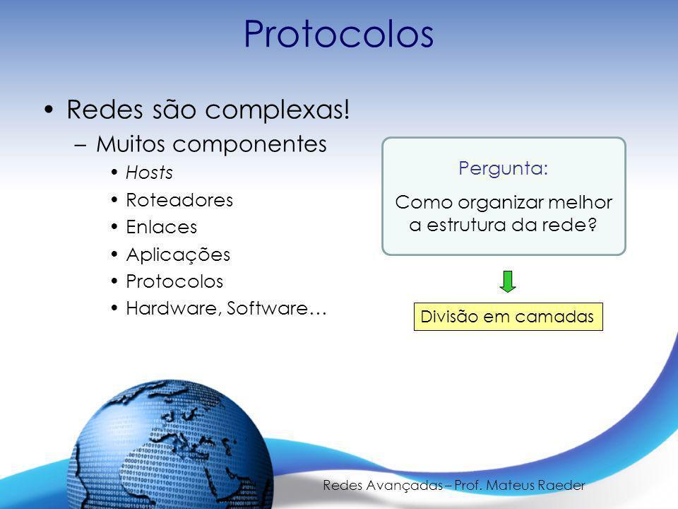 Protocolos Redes são complexas! Muitos componentes Hosts Roteadores