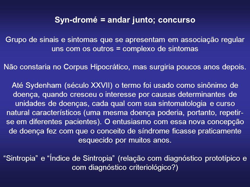 Syn-dromé = andar junto; concurso Grupo de sinais e sintomas que se apresentam em associação regular uns com os outros = complexo de sintomas Não constaria no Corpus Hipocrático, mas surgiria poucos anos depois.