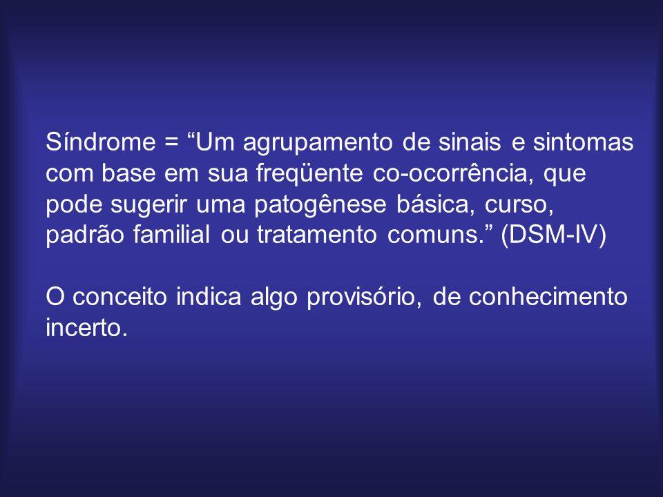 Síndrome = Um agrupamento de sinais e sintomas com base em sua freqüente co-ocorrência, que pode sugerir uma patogênese básica, curso, padrão familial ou tratamento comuns. (DSM-IV) O conceito indica algo provisório, de conhecimento incerto.