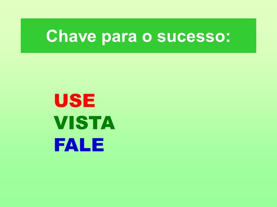 Chave para o sucesso: USE VISTA FALE