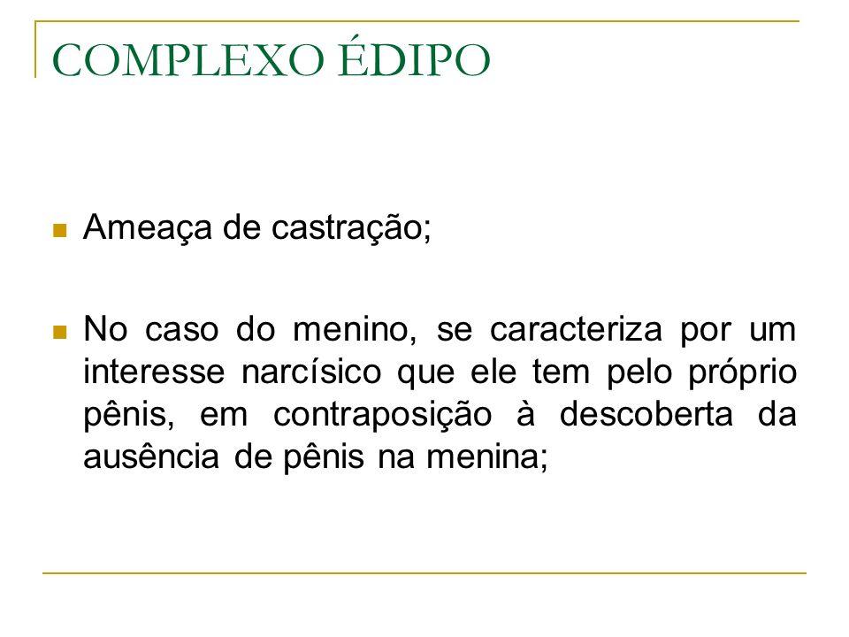 COMPLEXO ÉDIPO Ameaça de castração;