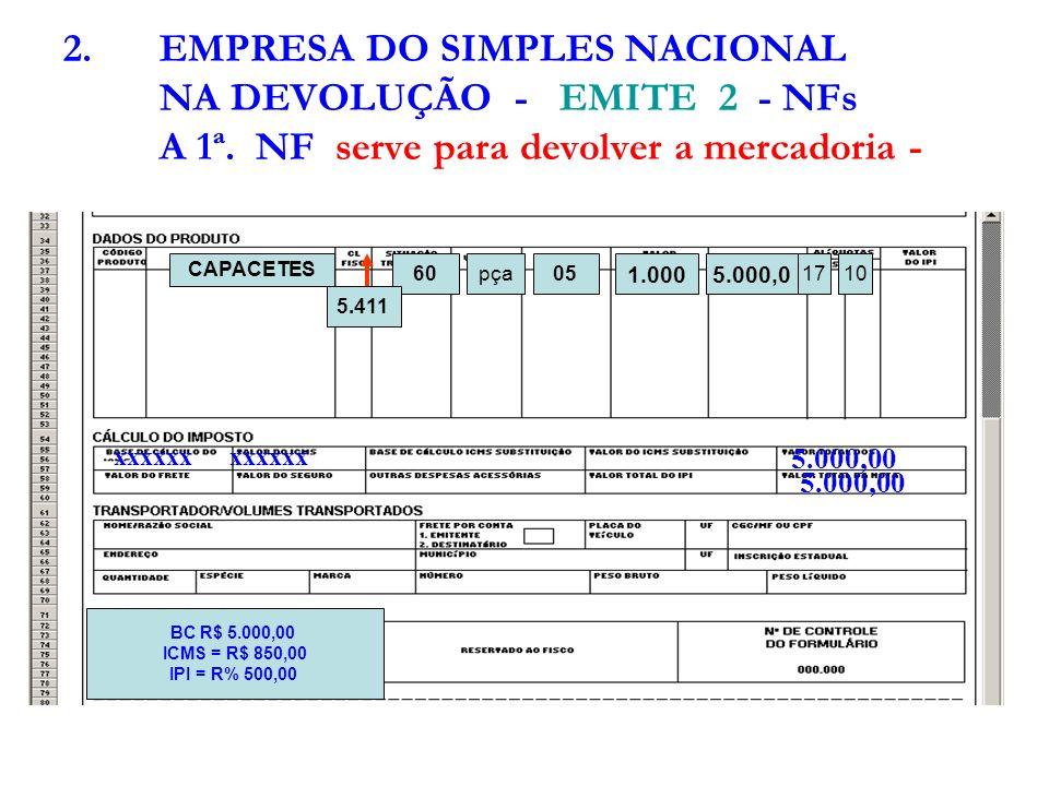 EMPRESA DO SIMPLES NACIONAL NA DEVOLUÇÃO - EMITE 2 - NFs A 1ª
