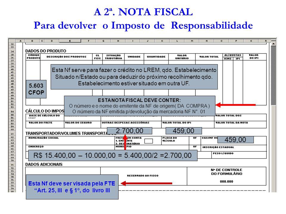 A 2ª. NOTA FISCAL Para devolver o Imposto de Responsabilidade