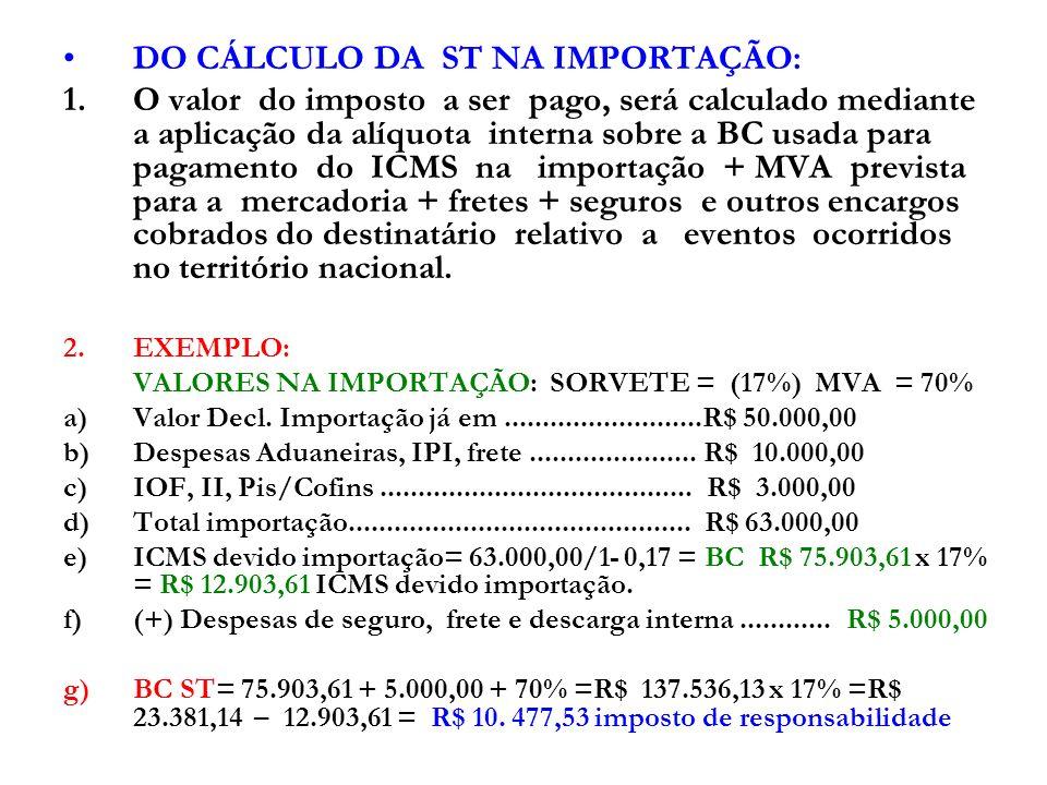DO CÁLCULO DA ST NA IMPORTAÇÃO: