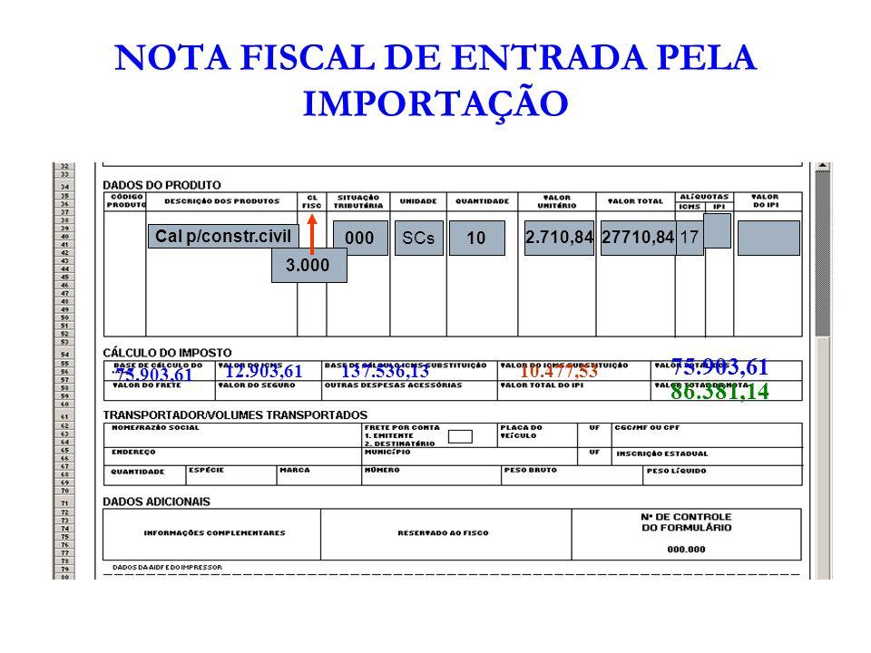 NOTA FISCAL DE ENTRADA PELA IMPORTAÇÃO