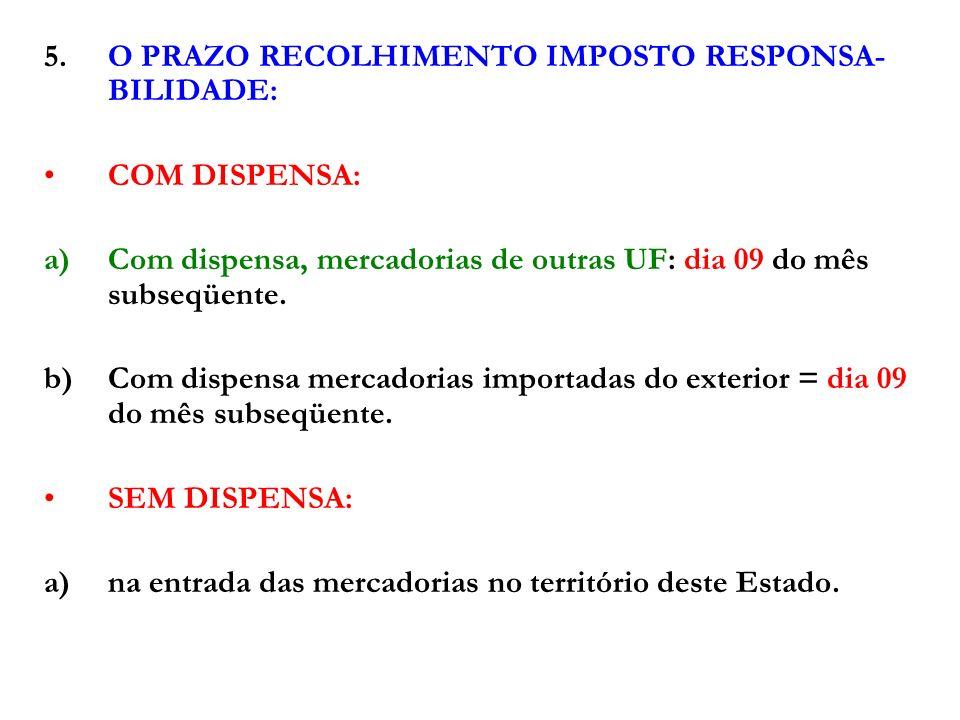 5. O PRAZO RECOLHIMENTO IMPOSTO RESPONSA-BILIDADE: