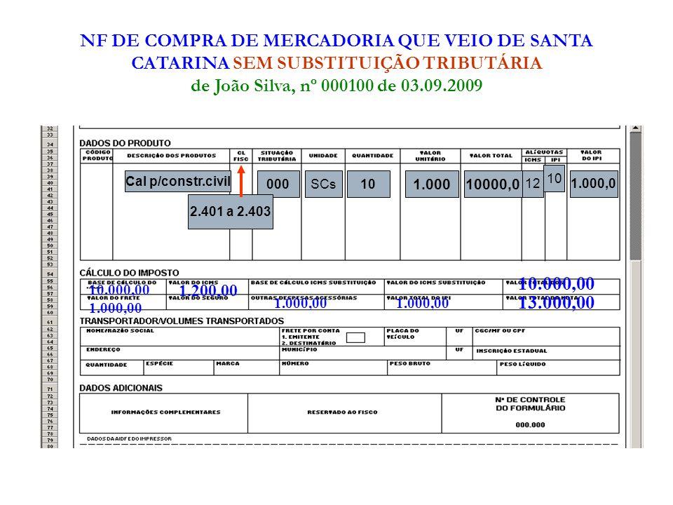 NF DE COMPRA DE MERCADORIA QUE VEIO DE SANTA CATARINA SEM SUBSTITUIÇÃO TRIBUTÁRIA de João Silva, nº 000100 de 03.09.2009