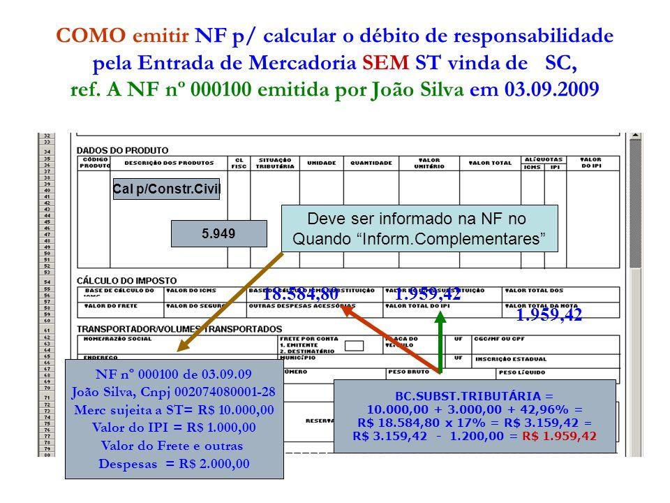 COMO emitir NF p/ calcular o débito de responsabilidade pela Entrada de Mercadoria SEM ST vinda de SC, ref. A NF nº 000100 emitida por João Silva em 03.09.2009