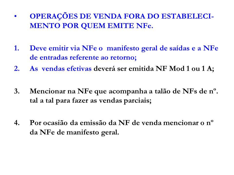 OPERAÇÕES DE VENDA FORA DO ESTABELECI-MENTO POR QUEM EMITE NFe.
