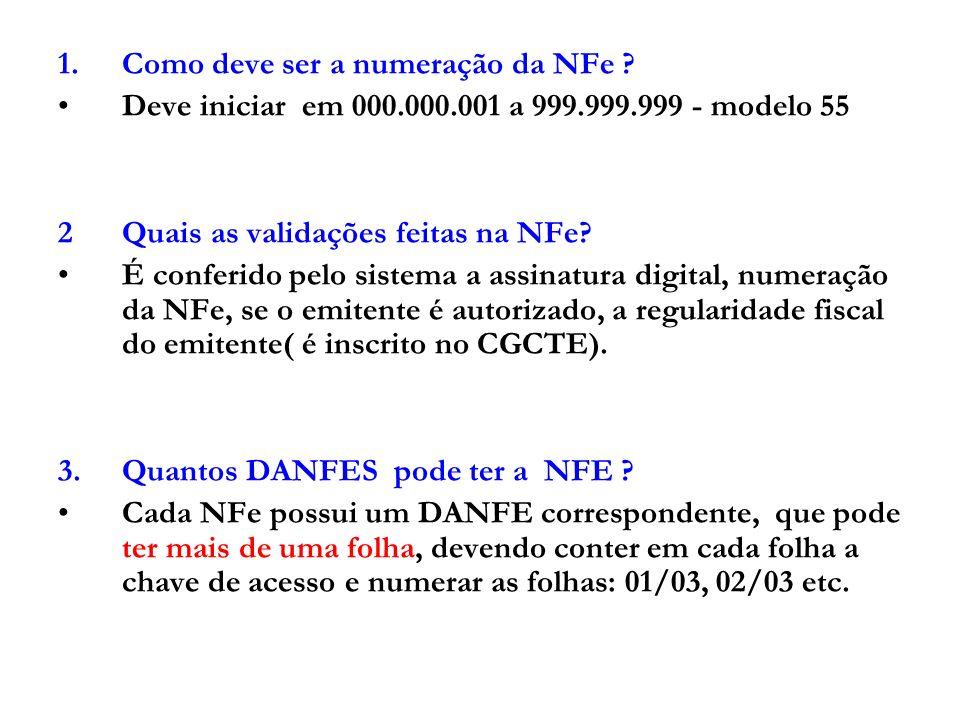 Como deve ser a numeração da NFe