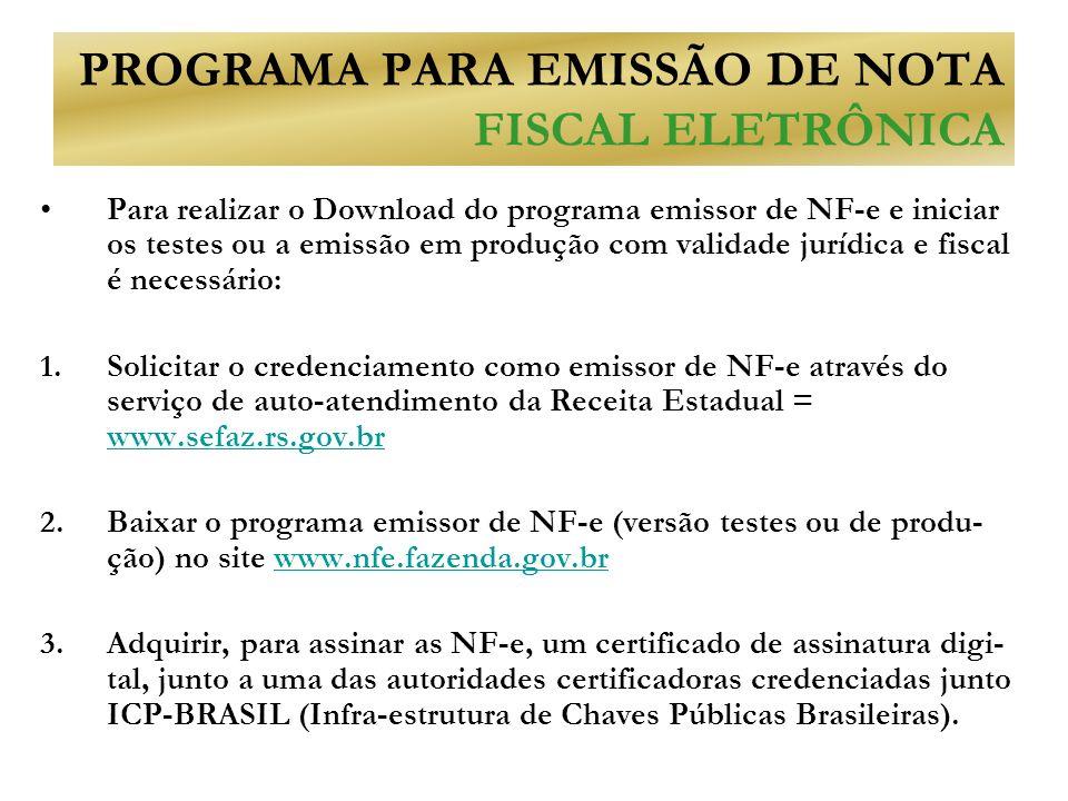 PROGRAMA PARA EMISSÃO DE NOTA FISCAL ELETRÔNICA