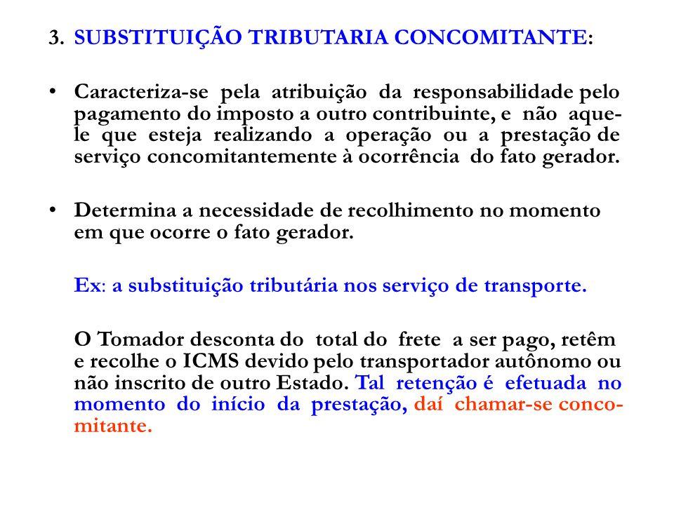 3. SUBSTITUIÇÃO TRIBUTARIA CONCOMITANTE:
