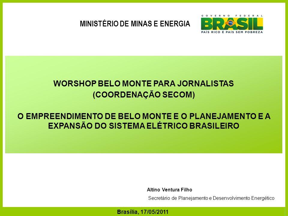 MINISTÉRIO DE Minas e Energia WORSHOP BELO MONTE PARA JORNALISTAS
