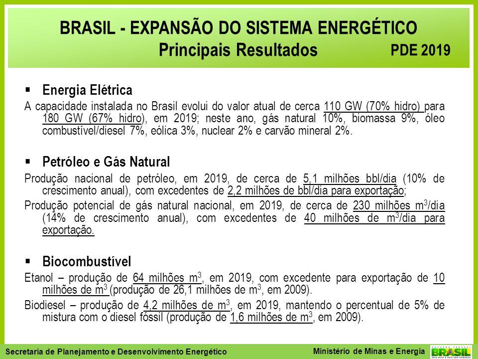 BRASIL - EXPANSÃO DO SISTEMA ENERGÉTICO Principais Resultados