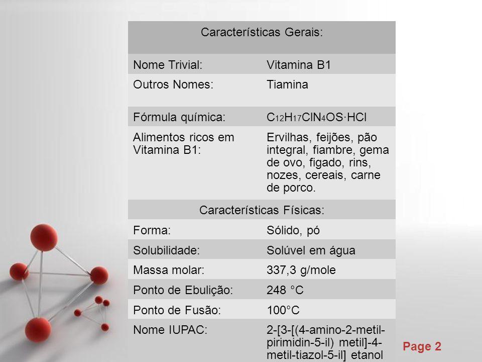 Características Gerais: Nome Trivial: Vitamina B1 Outros Nomes: