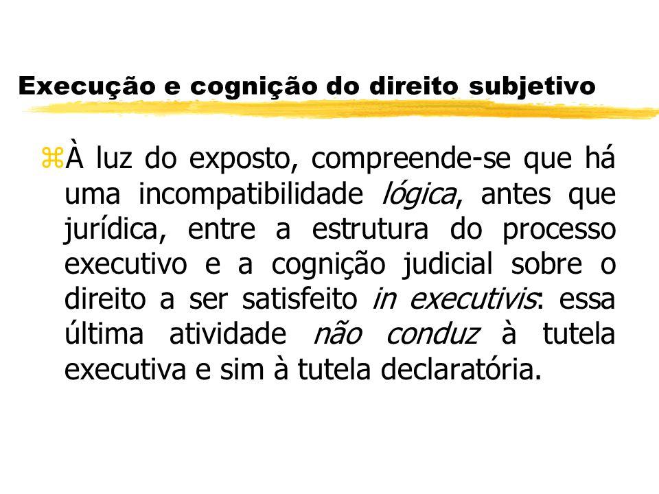 Execução e cognição do direito subjetivo