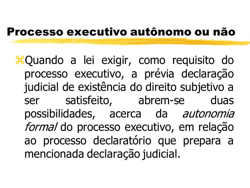 Processo executivo autônomo ou não