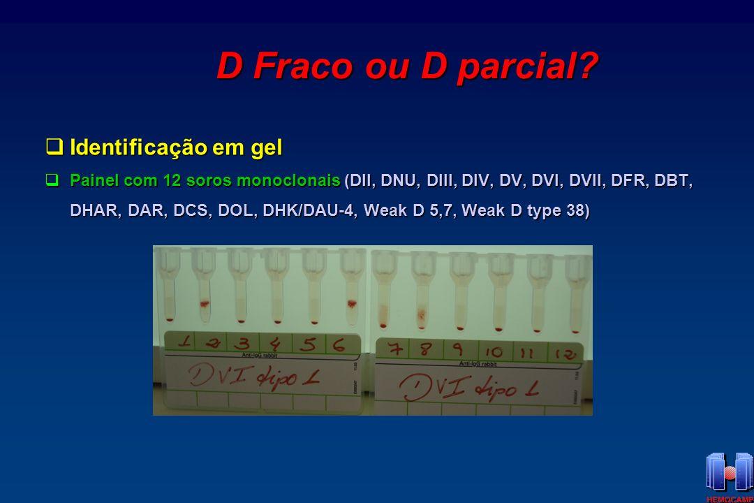 D Fraco ou D parcial Identificação em gel