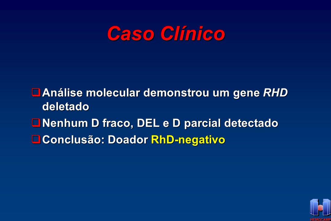 Caso Clínico Análise molecular demonstrou um gene RHD deletado