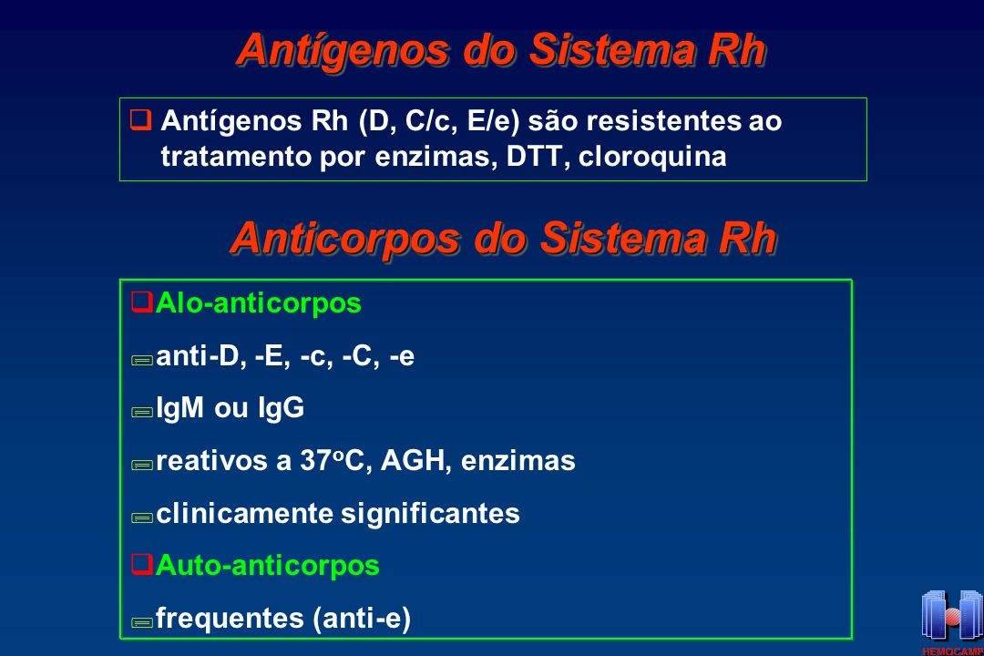 Antígenos do Sistema Rh Anticorpos do Sistema Rh