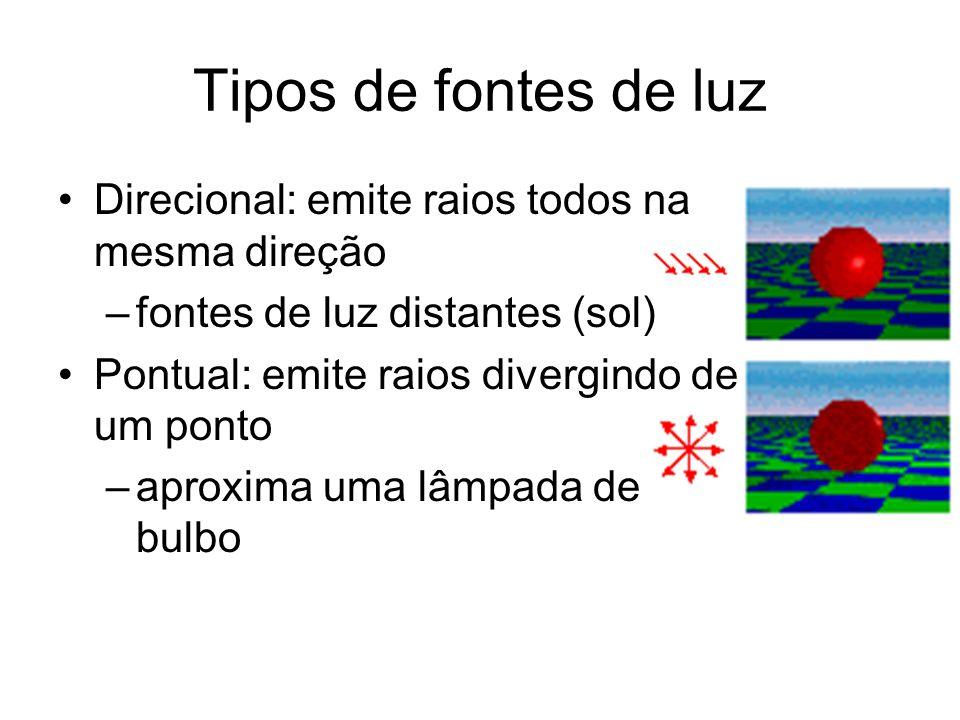 Tipos de fontes de luz Direcional: emite raios todos na mesma direção