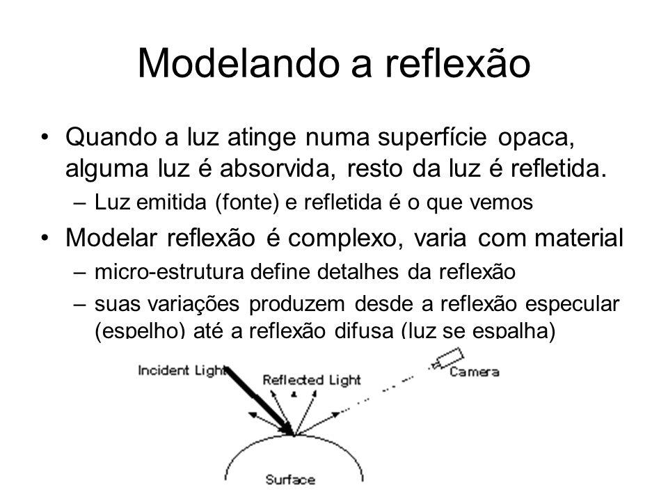Modelando a reflexão Quando a luz atinge numa superfície opaca, alguma luz é absorvida, resto da luz é refletida.