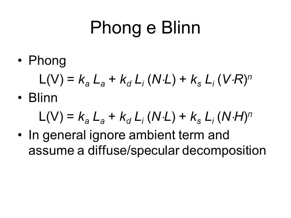 Phong e Blinn Phong L(V) = ka La + kd Li (NL) + ks Li (VR)n Blinn