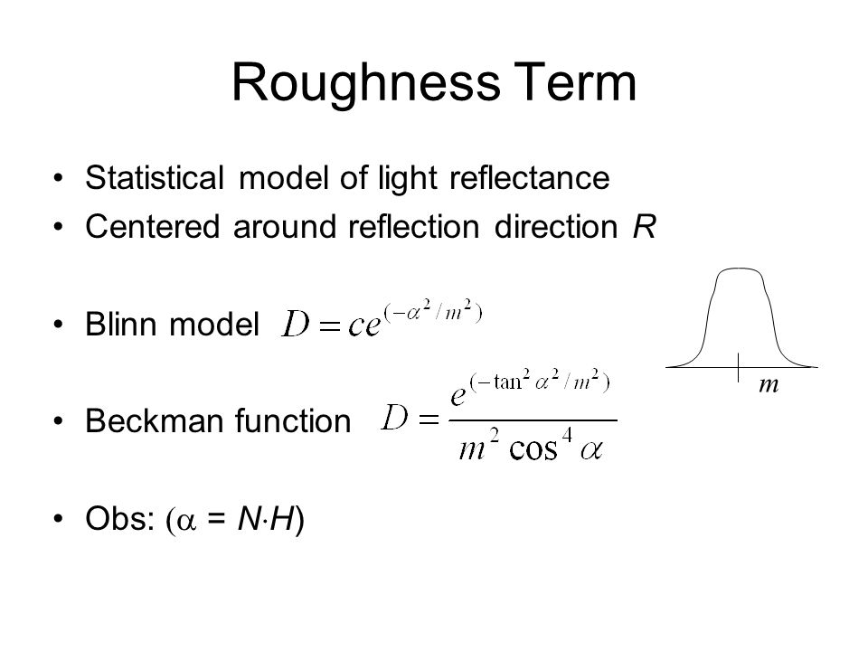 Roughness Term Statistical model of light reflectance