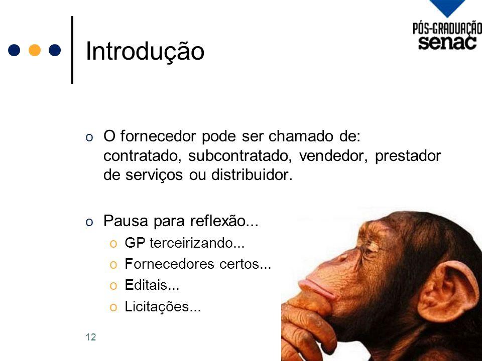 Introdução O fornecedor pode ser chamado de: contratado, subcontratado, vendedor, prestador de serviços ou distribuidor.
