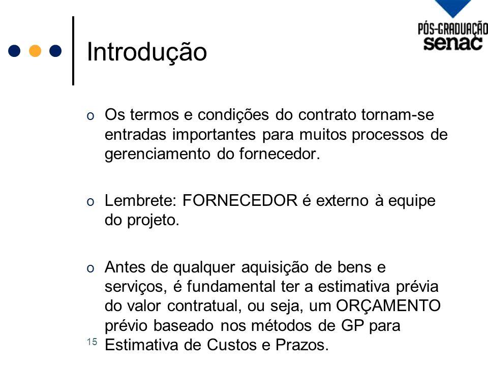 Introdução Os termos e condições do contrato tornam-se entradas importantes para muitos processos de gerenciamento do fornecedor.