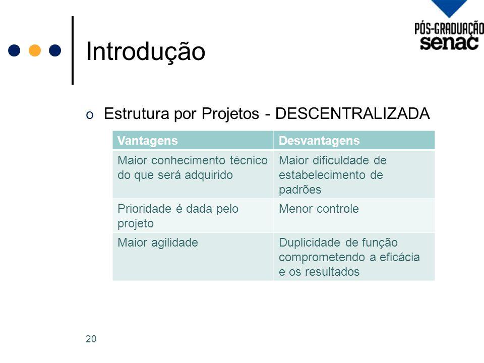 Introdução Estrutura por Projetos - DESCENTRALIZADA Vantagens